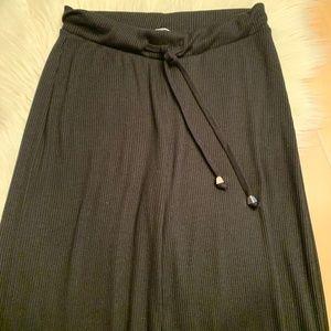 Zara Sz M Black Ribbed wide-leg Drawstring waist